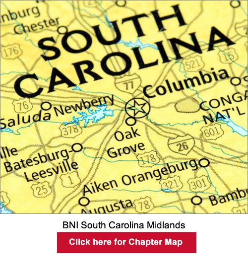 BNI South Carolina Midlands chapter map